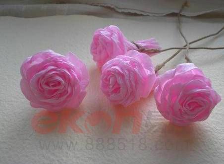 【折纸时代】创意生活粉色褶皱纸玫瑰制作教程全图解