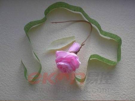 创意生活粉色褶皱纸玫瑰制作教程全图解