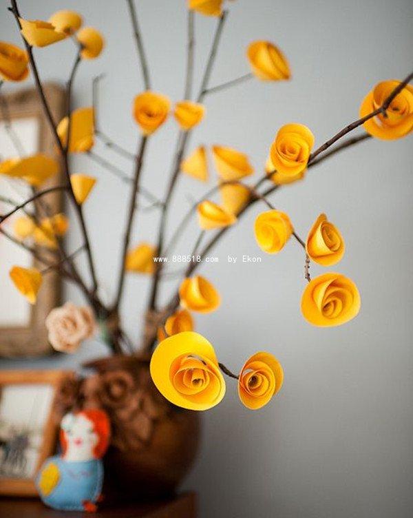 易控创业 手工diy项目库 纸艺          彩色绉纸制作美丽的木槿花