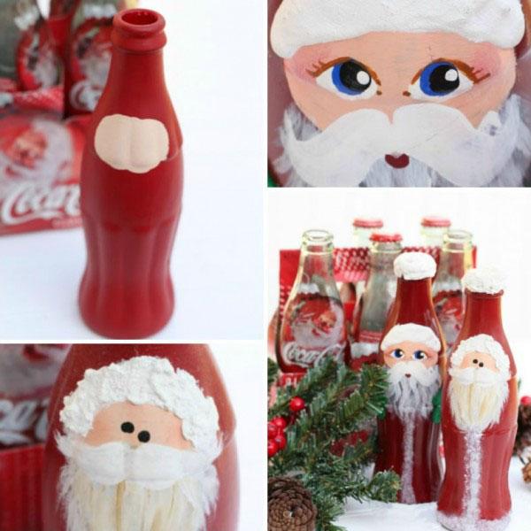 瓶子涂鸦diy各种创意圣诞老人