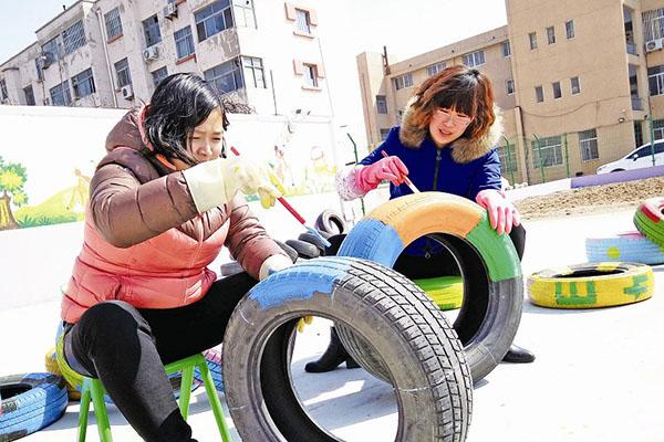 """创意环保亲子涂鸦diy旧轮胎庆""""六一"""""""