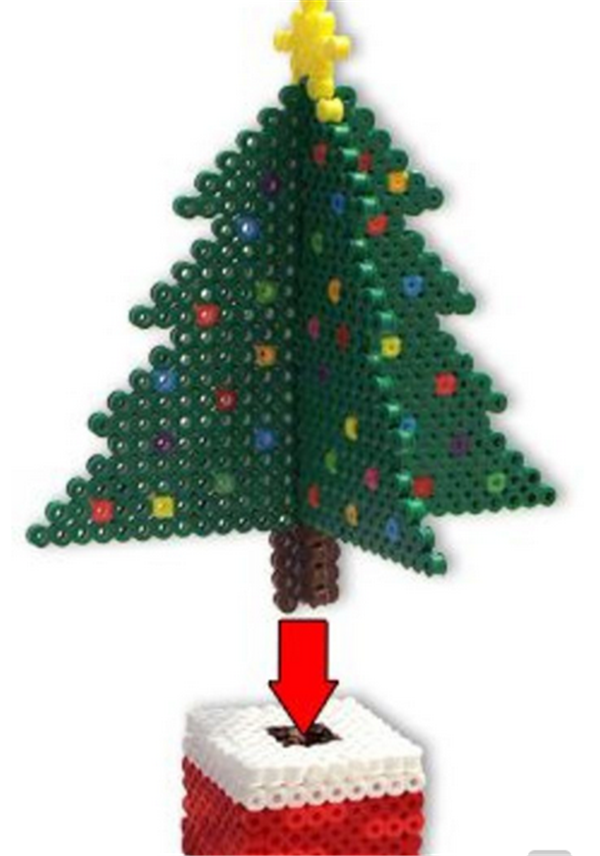 创意拼豆diy手工制作立体美丽圣诞树