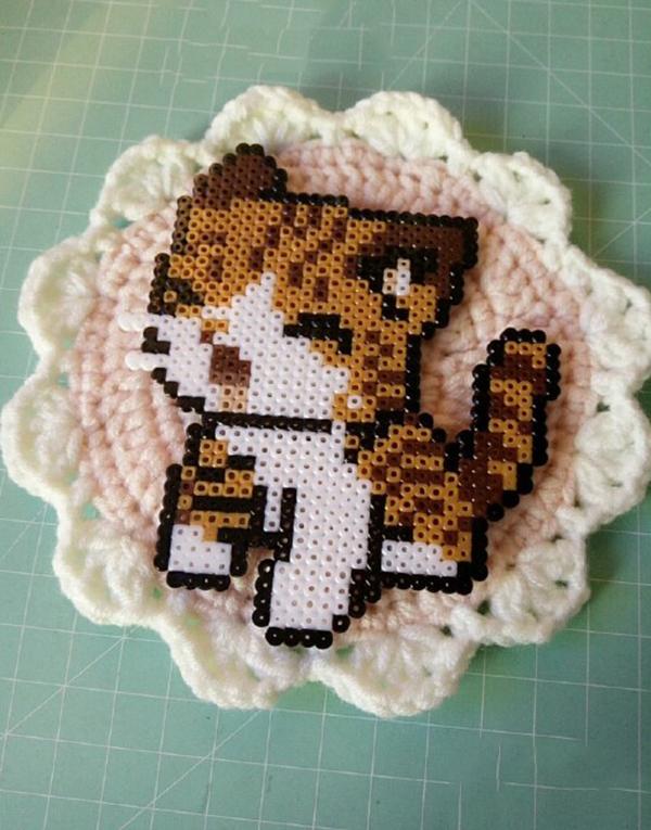呆萌可爱的拼豆手工diy调皮的小猫
