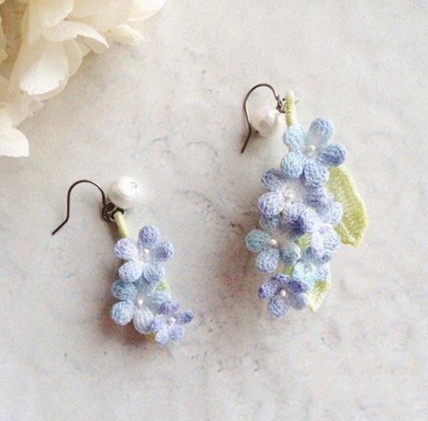 钩针手工diy的漂亮的绿叶花朵耳饰产品欣赏