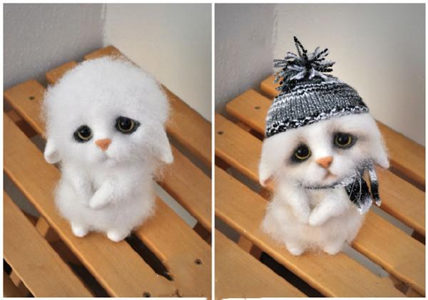 手工羊毛毡diy耷拉着耳朵的呆萌可爱小猫咪