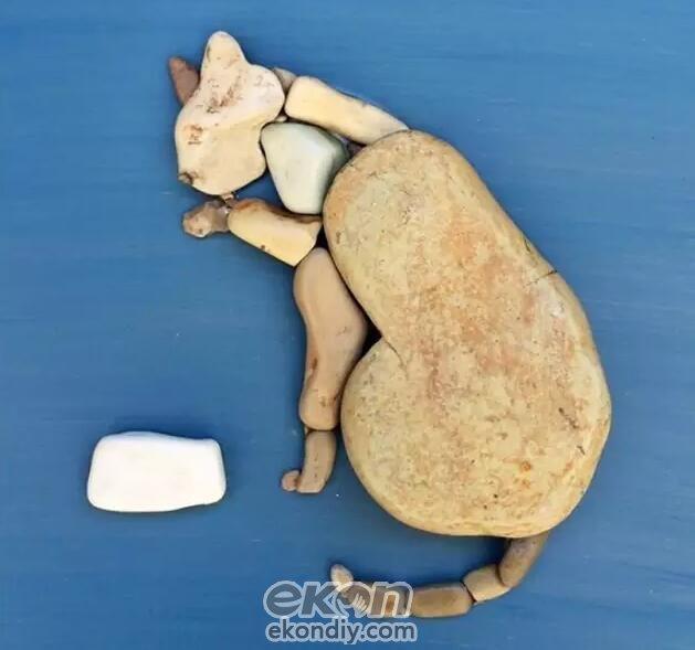 综合创意diy儿童手工坊利用简单的石头做动物画