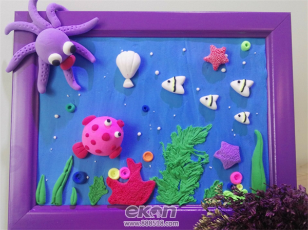儿童手工制作坊分享神奇的海底世界粘土画diy