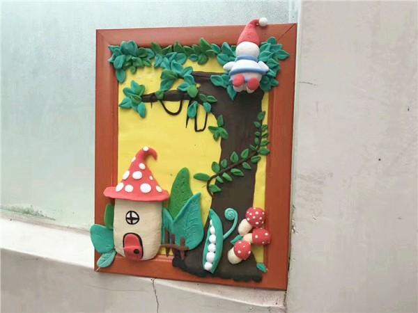 亲子手工diy店分享磨菇小屋粘土画作品