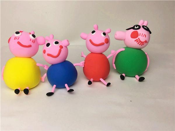 创意手工加盟店陶艺粘土作品小猪佩奇