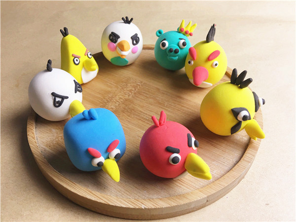 儿童手工乐园粘土diy作品愤怒的小鸟