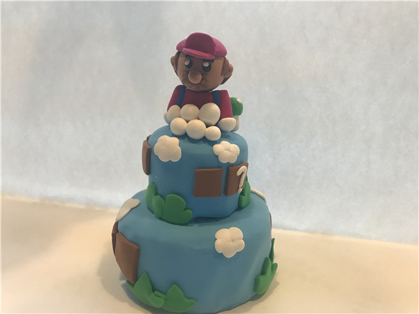 儿童亲子乐园粘土作品马里奥蛋糕