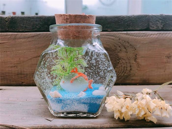 儿童创意手工加盟果冻蜡烛作品海底世界