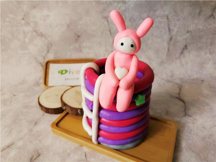 创意diy陶艺加盟店软陶手工笔筒--粉红兔